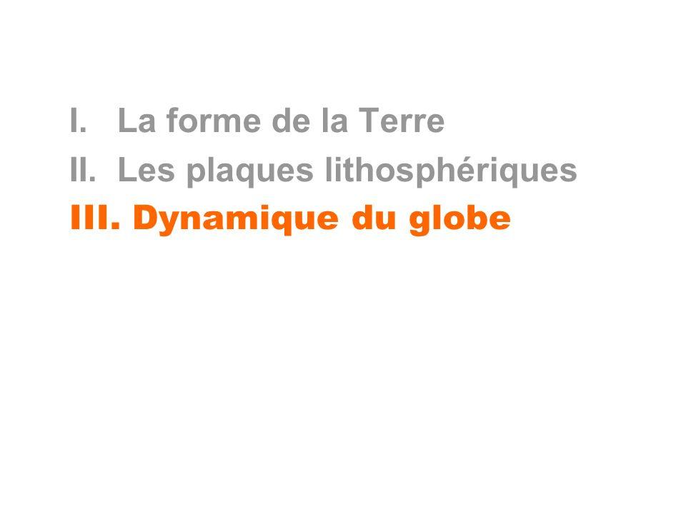 I. La forme de la Terre II. Les plaques lithosphériques III. Dynamique du globe