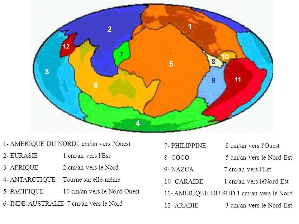 1 2 3 4 5 6 7 8 9 10 11 12 1- AMERIQUE DU NORD1 cm/an vers l'Ouest 2- EURASIE 1 cm/an vers l'Est 3- AFRIQUE 2 cm/an vers le Nord 4- ANTARCTIQUE Tourne