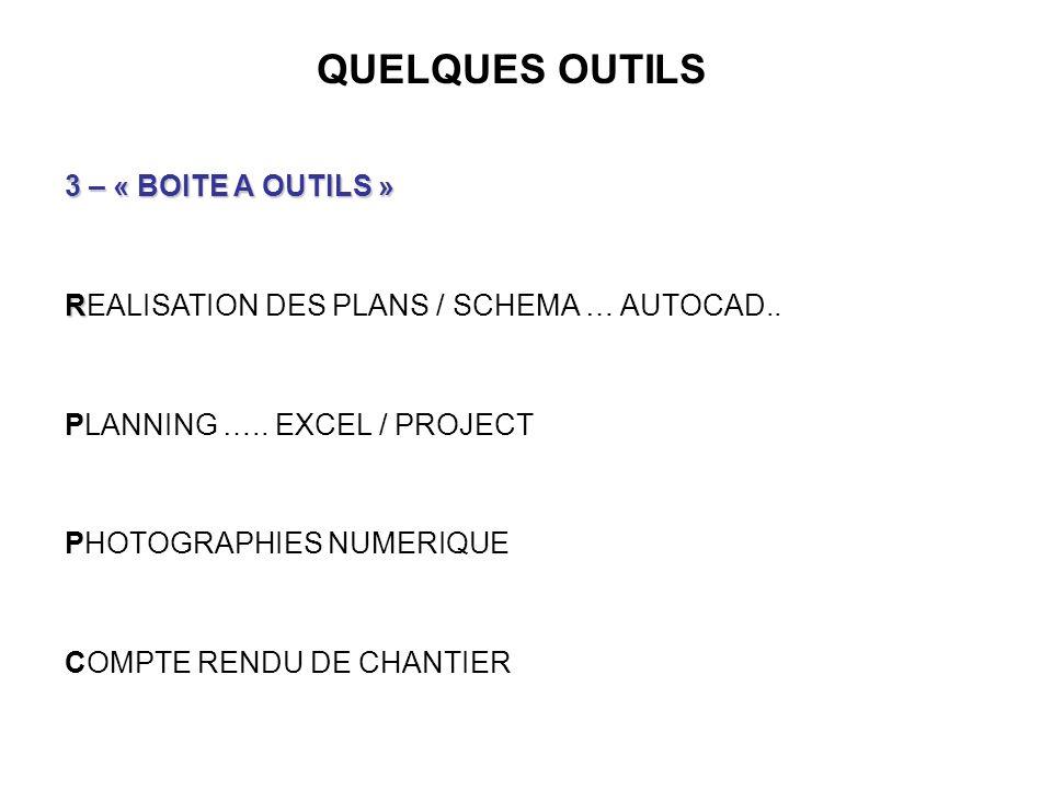 QUELQUES OUTILS 3 – « BOITE A OUTILS » R REALISATION DES PLANS / SCHEMA … AUTOCAD.. PLANNING ….. EXCEL / PROJECT PHOTOGRAPHIES NUMERIQUE COMPTE RENDU