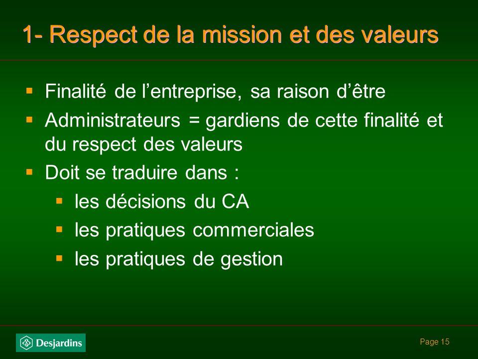 Page 14 7 zones de responsabilités (incluant CFE) 1.Respect de la mission, des valeurs et de la nature distinctive de la caisse 2.Gestion stratégique