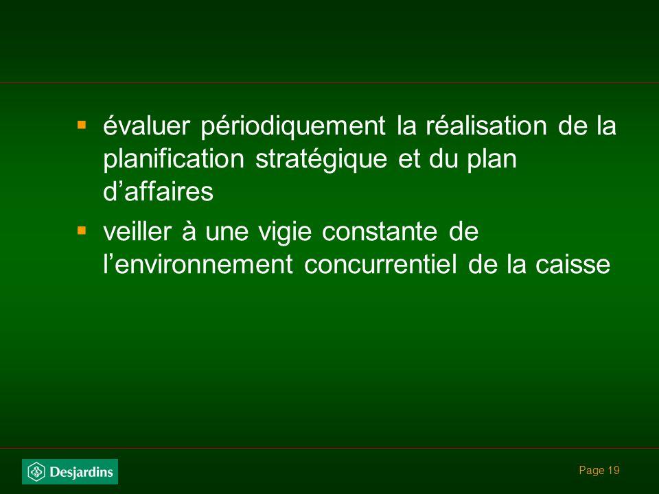 Page 18 Rôle du CA élaborer et adopter une vision claire et une planification stratégique (3 ans et mise à jour annuelle) assurer la cohérence avec le