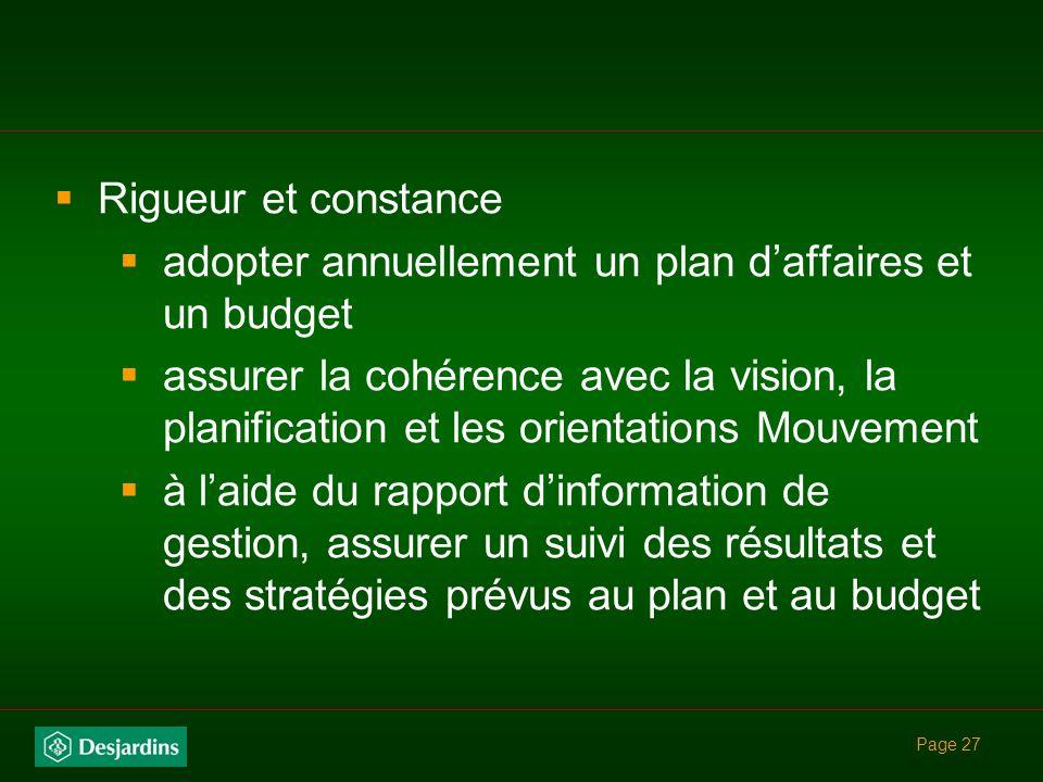 Page 26 3- Gestion de la performance Évaluer la performance à la lumière du triangle de la performance globale et durable Équilibre à maintenir entre