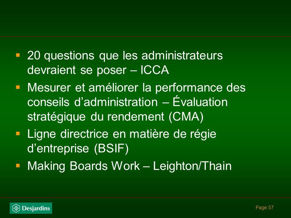Page 56 Références utiles Rapport Dey : Where Were The Directors ? Principes de base pour ladoption des règles de la Bourse de Toronto en matière de r