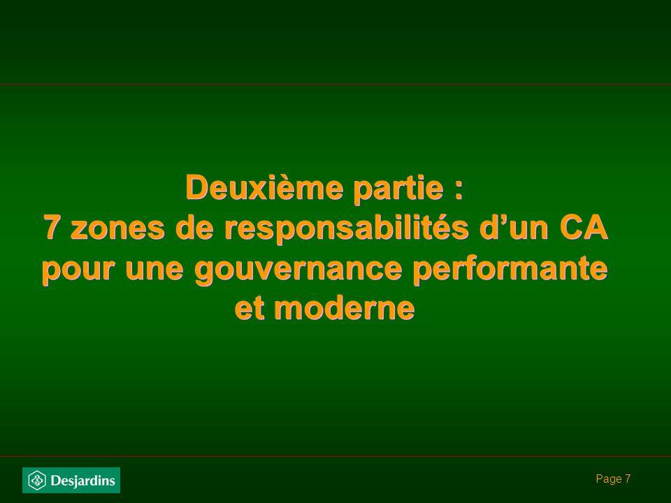 Page 7 Deuxième partie : 7 zones de responsabilités dun CA pour une gouvernance performante et moderne