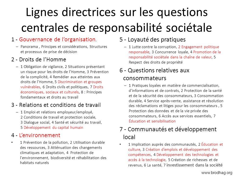 Lignes directrices sur les questions centrales de responsabilité sociétale 1 - Gouvernance de lorganisation. – Panorama, Principes et considérations,