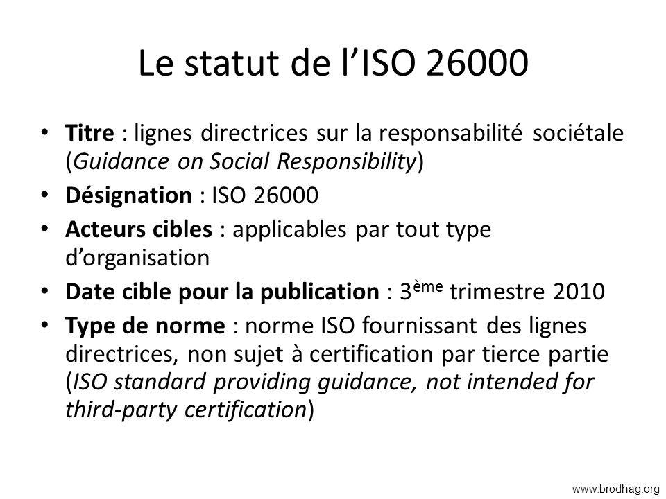 Le statut de lISO 26000 Titre : lignes directrices sur la responsabilité sociétale (Guidance on Social Responsibility) Désignation : ISO 26000 Acteurs