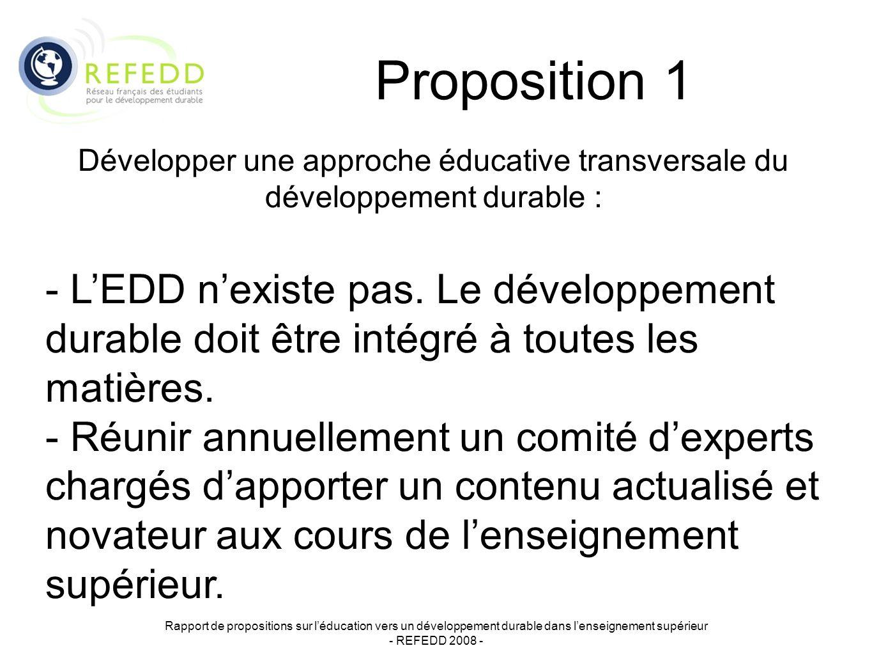 Proposition 1 Rapport de propositions sur léducation vers un développement durable dans lenseignement supérieur - REFEDD 2008 - Développer une approche éducative transversale du développement durable : - LEDD nexiste pas.