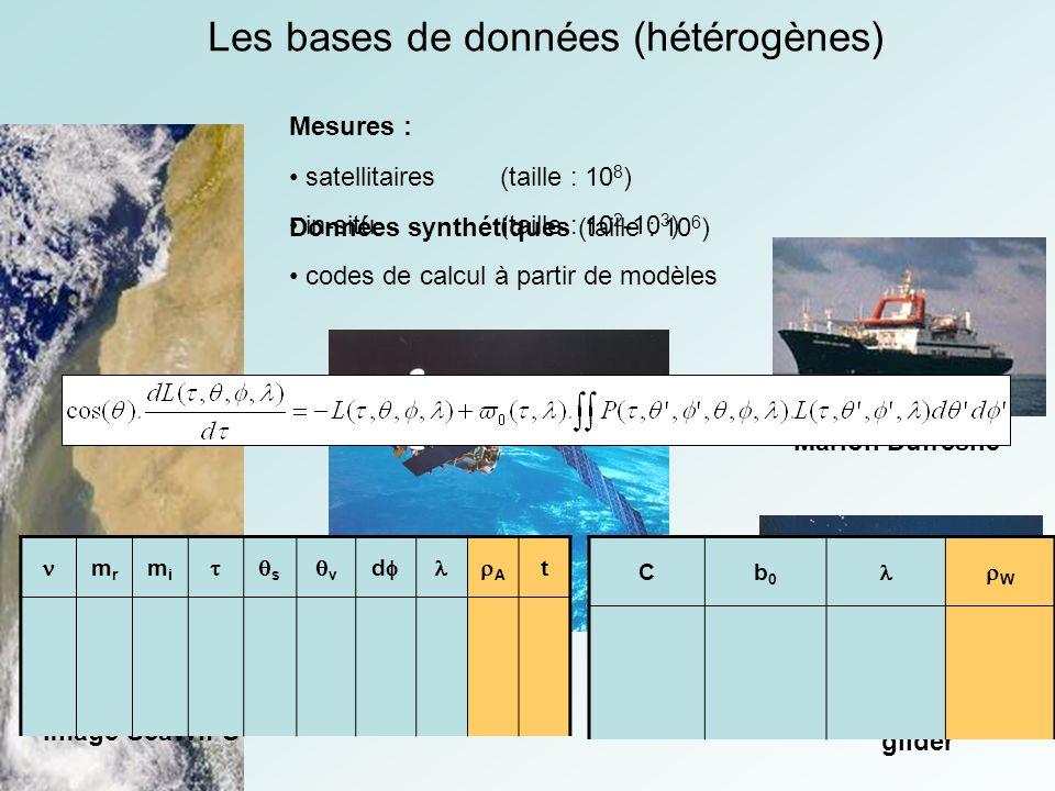 Les bases de données (hétérogènes) Mesures : Données synthétiques (taille : 10 6 ) codes de calcul à partir de modèles satellitaires(taille : 10 8 ) in-situ (taille : 10 2 -10 3 ) 14 Septembre 1998 Image SeaWiFS ENVISAT Marion Dufresne glider chl-a (SeaWiFS) mrmr mimi s v d A t Cb0b0 W