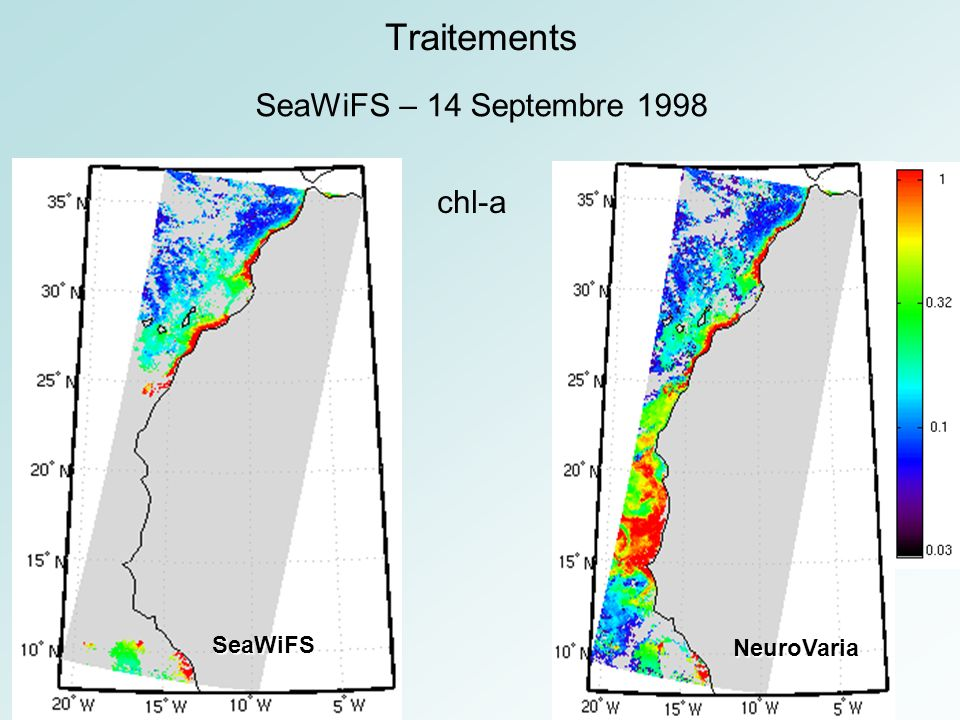 Traitements SeaWiFS – 14 Septembre 1998 chl-a NeuroVaria SeaWiFS