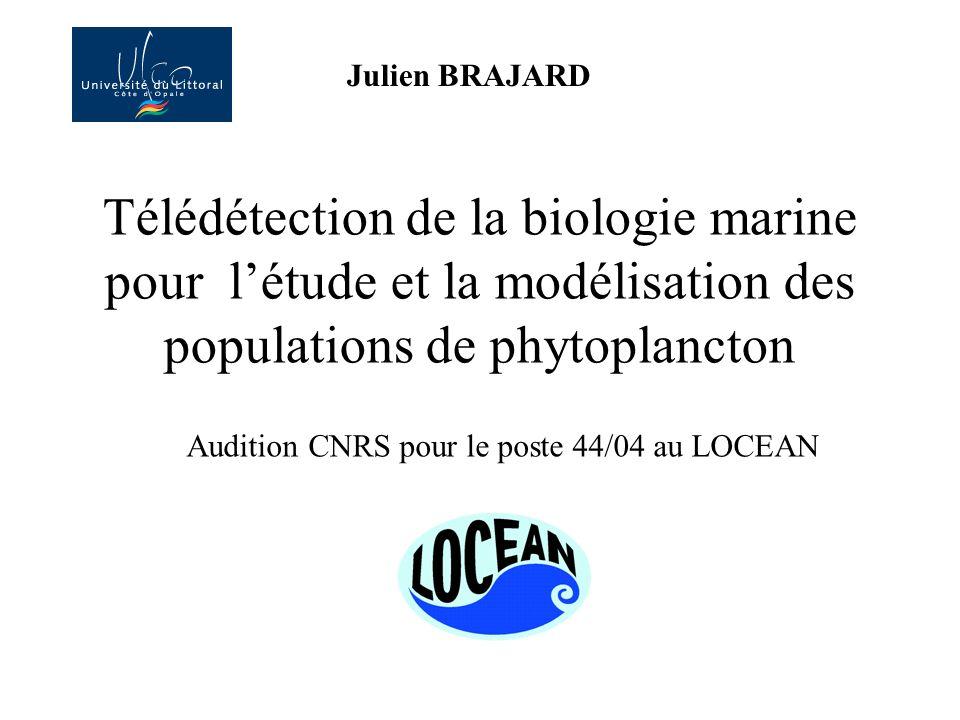 Télédétection de la biologie marine pour létude et la modélisation des populations de phytoplancton N°44/04 - 1 Chargé de recherche de 2e classe. Info