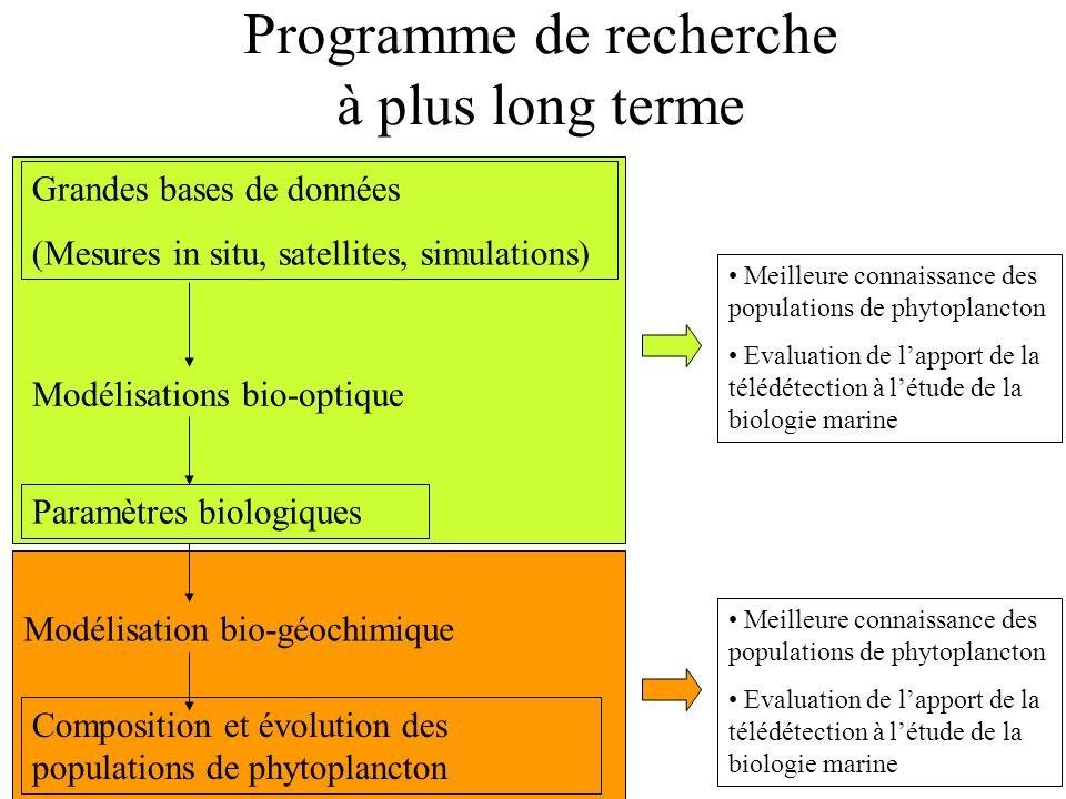 Programme de recherche à plus long terme Grandes bases de données (Mesures in situ, satellites, simulations) Modélisations bio-optique Paramètres biol