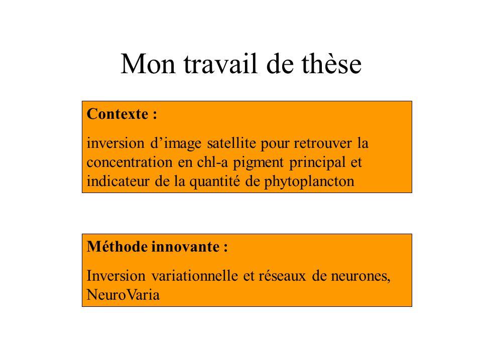 Mon travail de thèse Contexte : inversion dimage satellite pour retrouver la concentration en chl-a pigment principal et indicateur de la quantité de