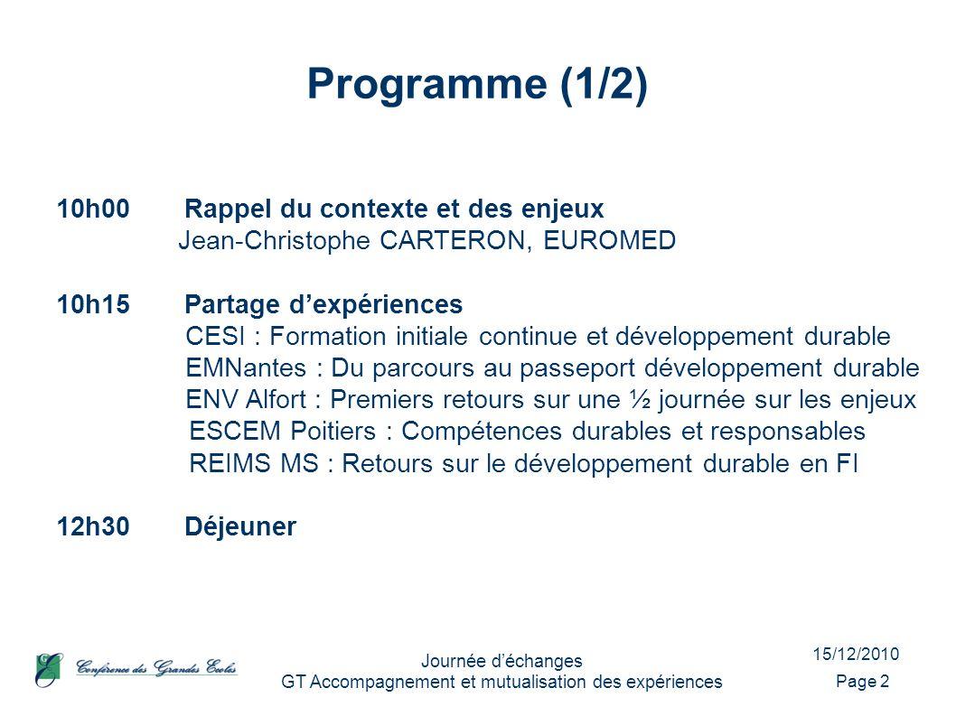 15/12/2010 Journée déchanges GT Accompagnement et mutualisation des expériences Programme (1/2) Page 2 10h00Rappel du contexte et des enjeux Jean-Chri