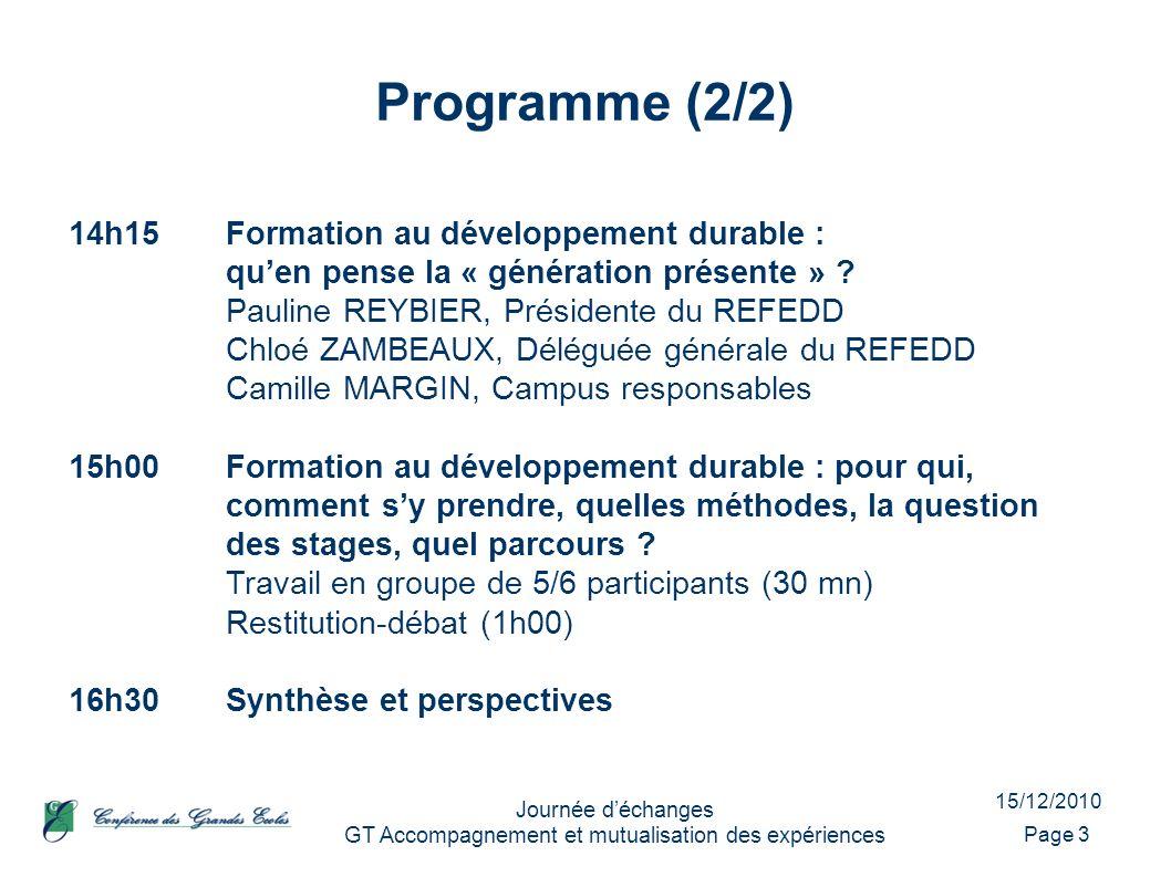 15/12/2010 Journée déchanges GT Accompagnement et mutualisation des expériences Programme (2/2) Page 3 14h15Formation au développement durable : quen