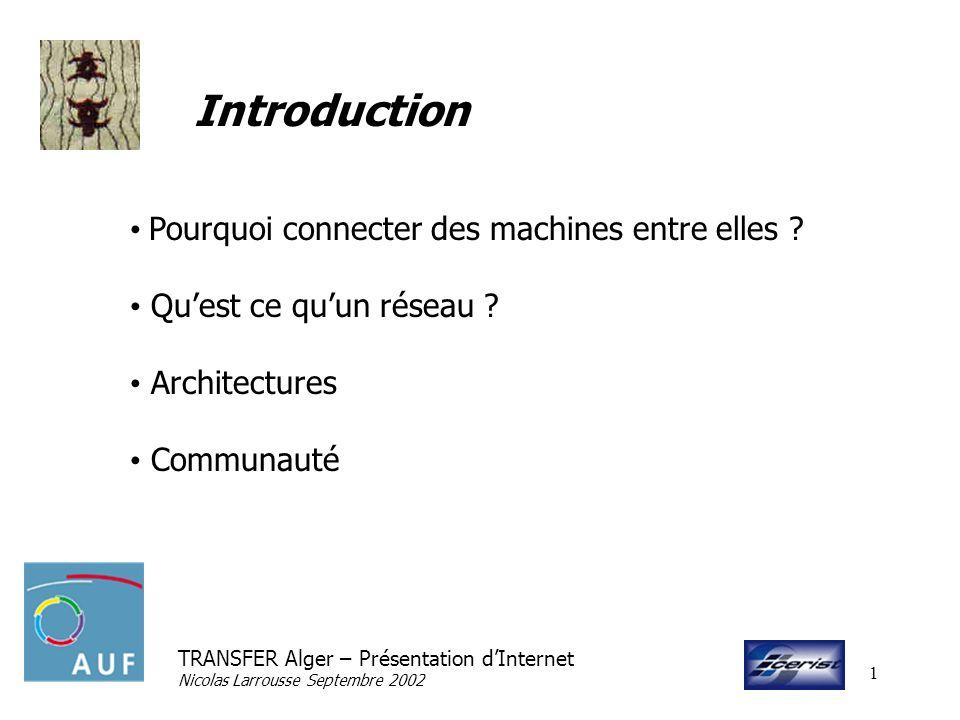TRANSFER Alger – Présentation dInternet Nicolas Larrousse Septembre 2002 1 Introduction Pourquoi connecter des machines entre elles ? Quest ce quun ré
