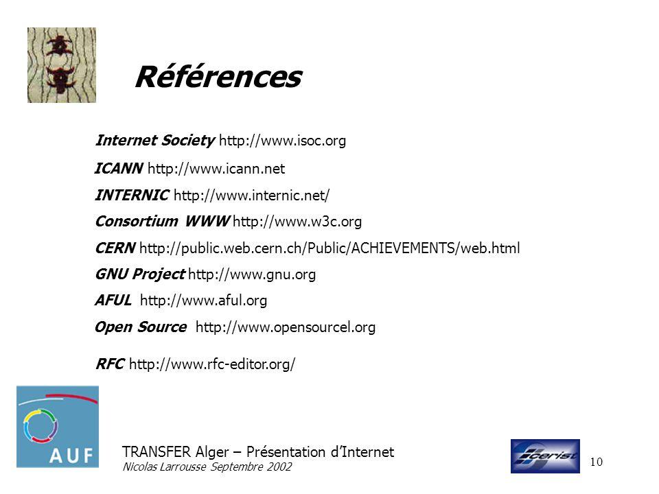 TRANSFER Alger – Présentation dInternet Nicolas Larrousse Septembre 2002 10 Références Internet Society http://www.isoc.org ICANN http://www.icann.net