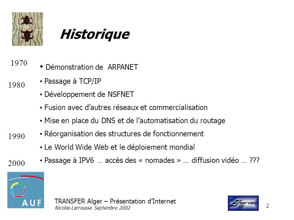TRANSFER Alger – Présentation dInternet Nicolas Larrousse Septembre 2002 2 Historique Démonstration de ARPANET Passage à TCP/IP Développement de NSFNE