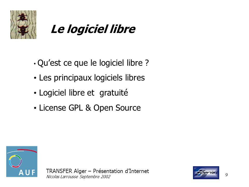 TRANSFER Alger – Présentation dInternet Nicolas Larrousse Septembre 2002 10 Références Internet Society http://www.isoc.org ICANN http://www.icann.net INTERNIC http://www.internic.net/ Consortium WWW http://www.w3c.org CERN http://public.web.cern.ch/Public/ACHIEVEMENTS/web.html GNU Project http://www.gnu.org AFUL http://www.aful.org Open Source http://www.opensourcel.org RFC http://www.rfc-editor.org/