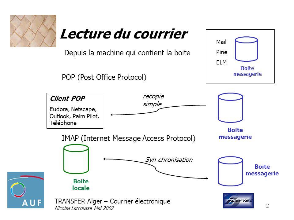 TRANSFER Alger – Courrier électronique Nicolas Larrousse Mai 2002 2 Lecture du courrier POP (Post Office Protocol) IMAP (Internet Message Access Proto