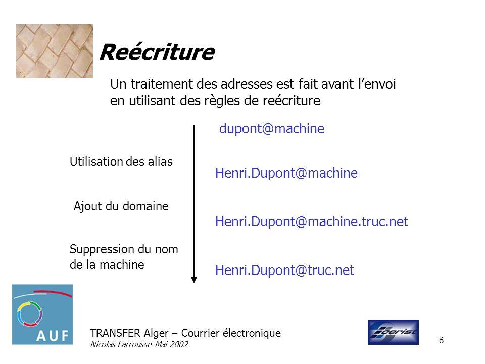 TRANSFER Alger – Courrier électronique Nicolas Larrousse Mai 2002 6 Reécriture Un traitement des adresses est fait avant lenvoi en utilisant des règle