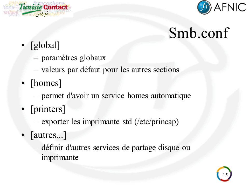 15 Smb.conf [global] –paramètres globaux –valeurs par défaut pour les autres sections [homes] –permet d'avoir un service homes automatique [printers]