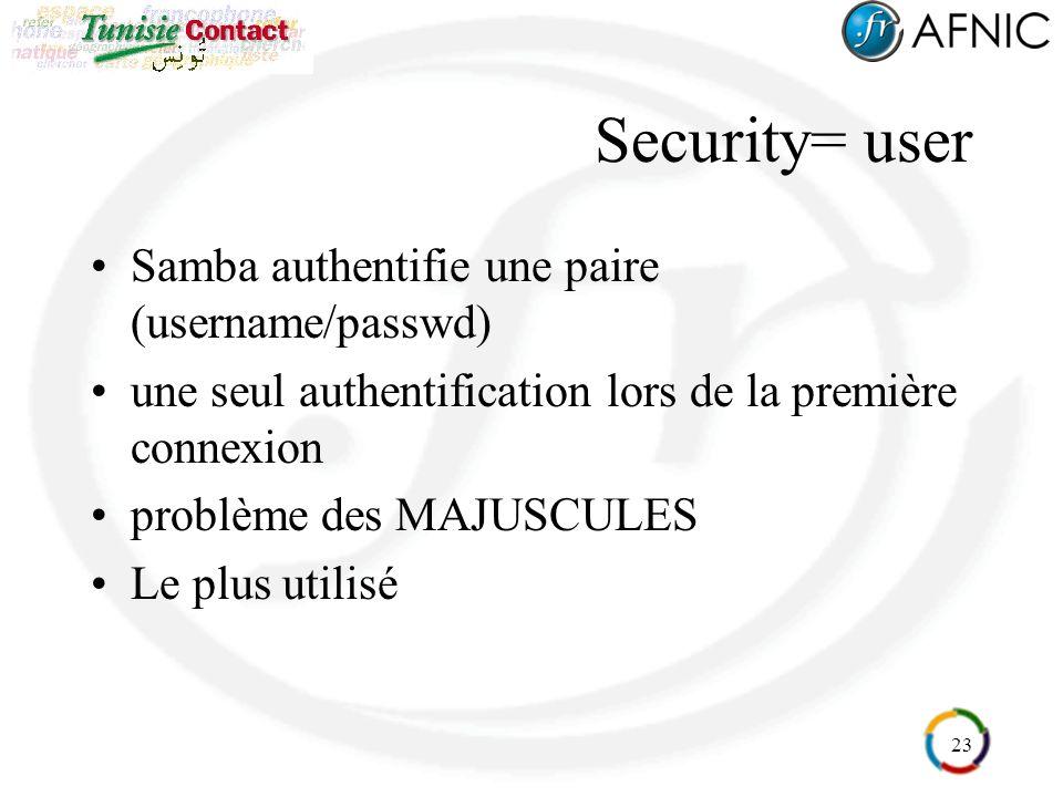 23 Security= user Samba authentifie une paire (username/passwd) une seul authentification lors de la première connexion problème des MAJUSCULES Le plu