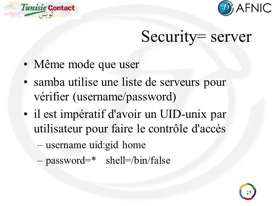 25 Security= server Même mode que user samba utilise une liste de serveurs pour vérifier (username/password) il est impératif d'avoir un UID-unix par