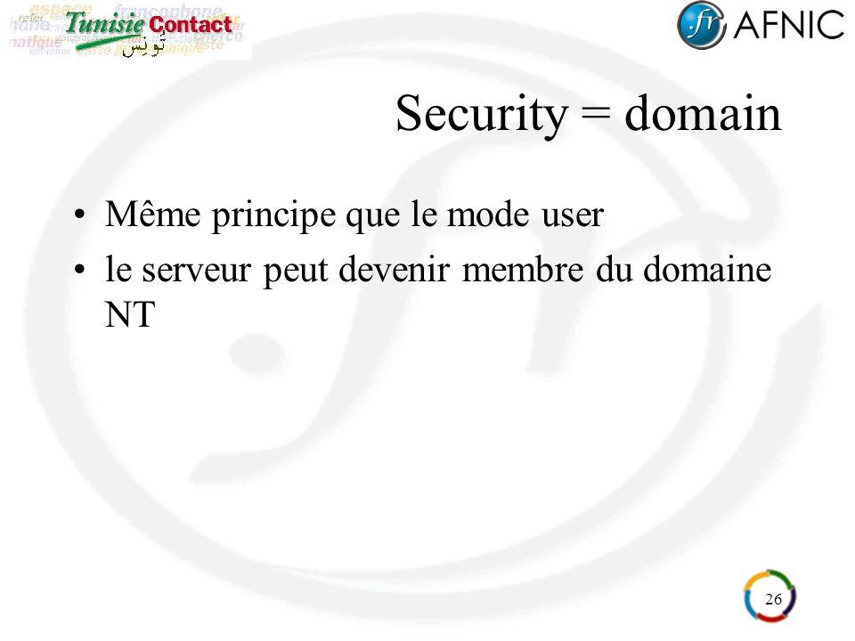 26 Security = domain Même principe que le mode user le serveur peut devenir membre du domaine NT