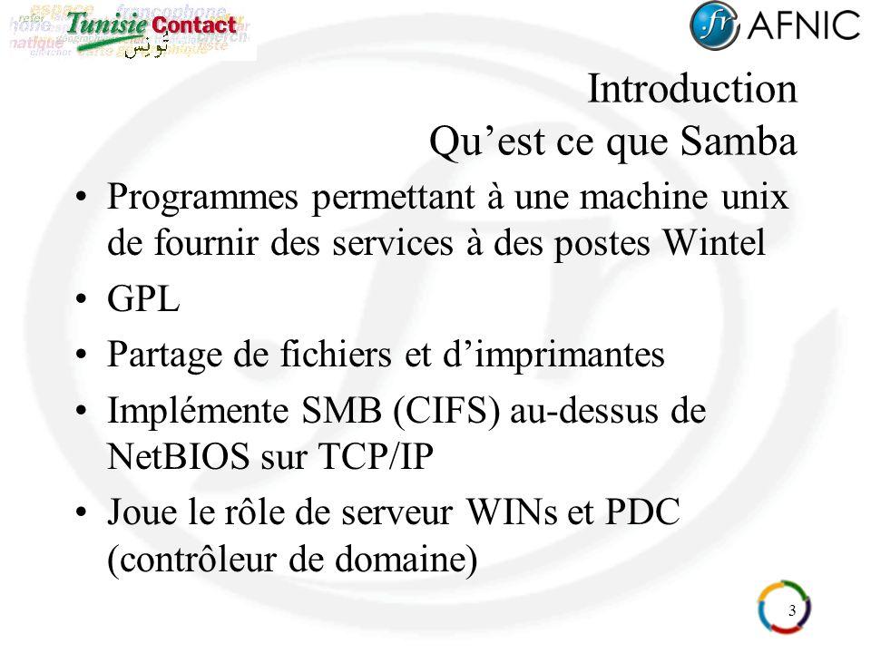 3 Introduction Quest ce que Samba Programmes permettant à une machine unix de fournir des services à des postes Wintel GPL Partage de fichiers et dimp