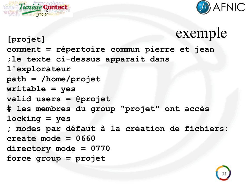 31 exemple [projet] comment = répertoire commun pierre et jean ;le texte ci-dessus apparait dans l'explorateur path = /home/projet writable = yes vali