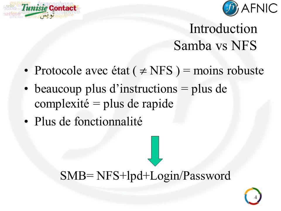 4 Introduction Samba vs NFS Protocole avec état ( NFS ) = moins robuste beaucoup plus dinstructions = plus de complexité = plus de rapide Plus de fonc