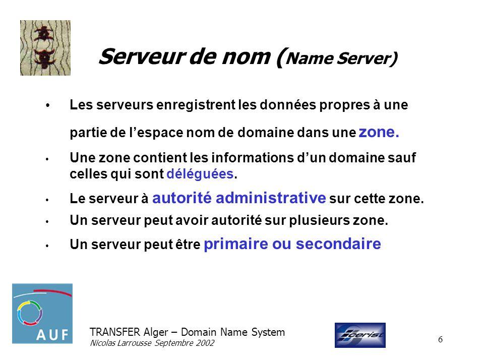 TRANSFER Alger – Domain Name System Nicolas Larrousse Septembre 2002 6 Serveur de nom ( Name Server) Les serveurs enregistrent les données propres à une partie de lespace nom de domaine dans une zone.