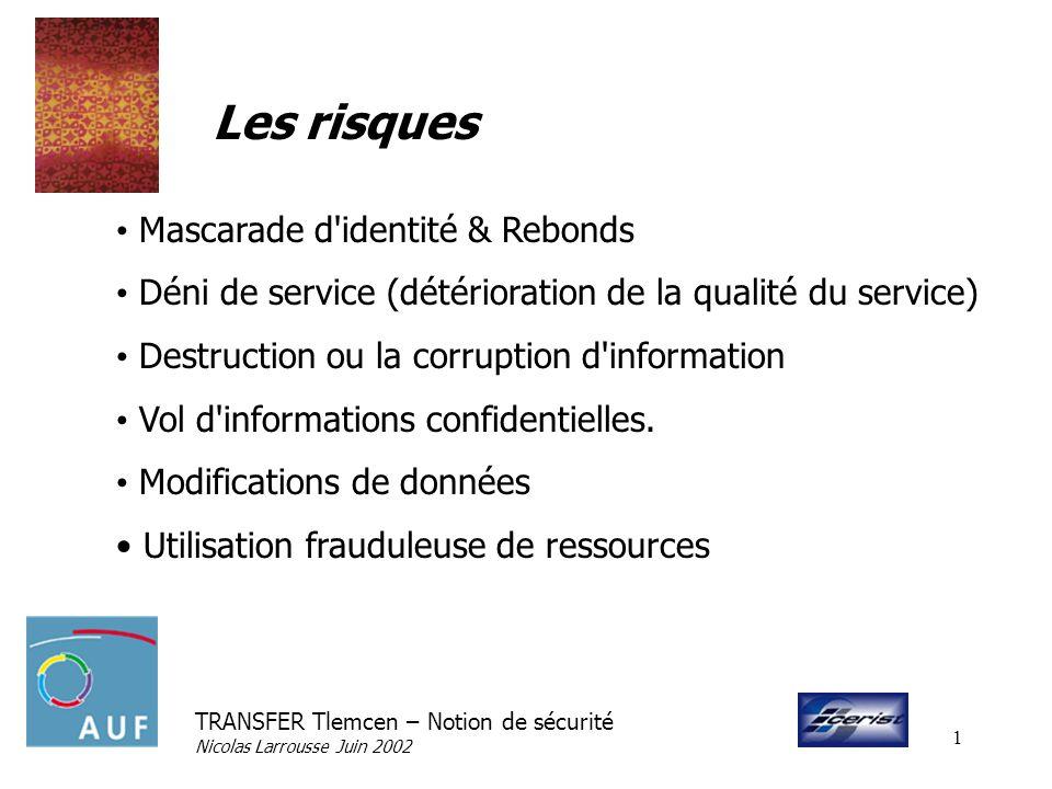 TRANSFER Tlemcen – Notion de sécurité Nicolas Larrousse Juin 2002 1 Les risques Mascarade d'identité & Rebonds Déni de service (détérioration de la qu
