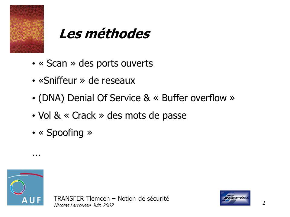 TRANSFER Tlemcen – Notion de sécurité Nicolas Larrousse Juin 2002 2 Les méthodes « Scan » des ports ouverts «Sniffeur » de reseaux (DNA) Denial Of Ser