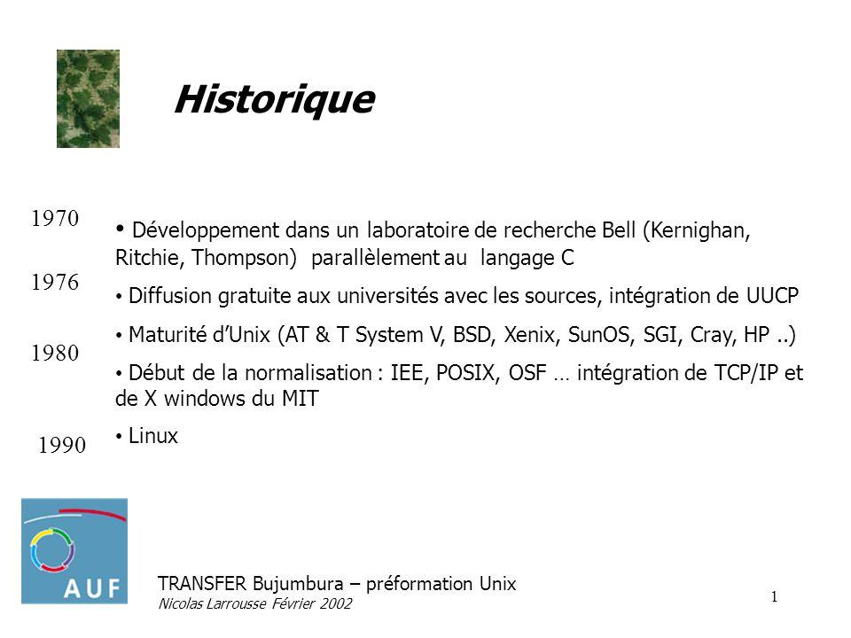 TRANSFER Bujumbura – préformation Unix Nicolas Larrousse Février 2002 1 Historique Développement dans un laboratoire de recherche Bell (Kernighan, Rit