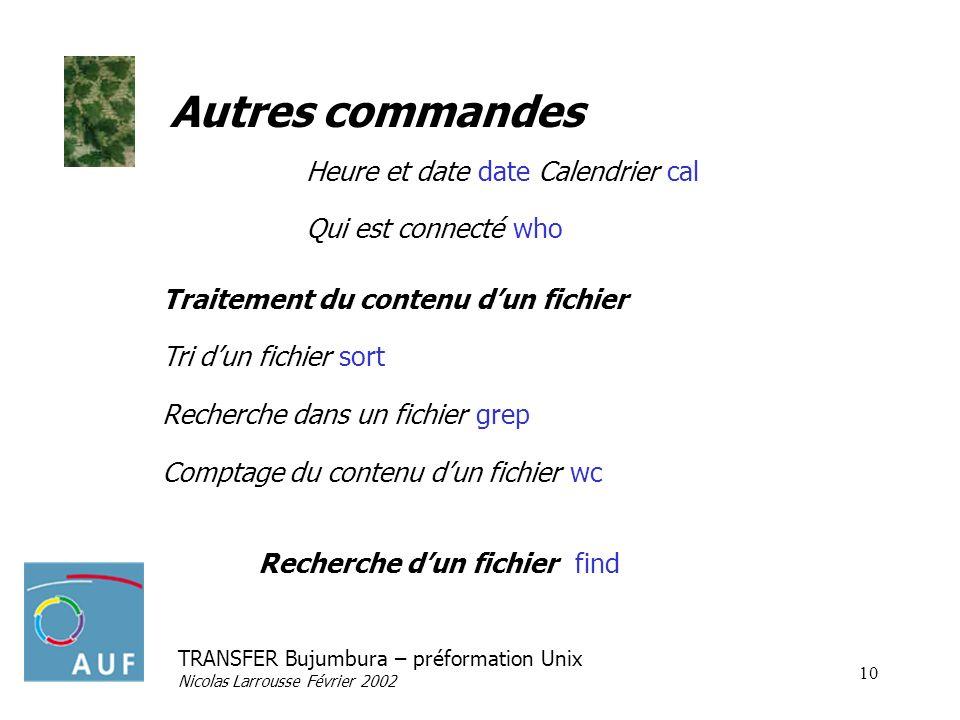 TRANSFER Bujumbura – préformation Unix Nicolas Larrousse Février 2002 10 Autres commandes Heure et date date Calendrier cal Qui est connecté who Trait