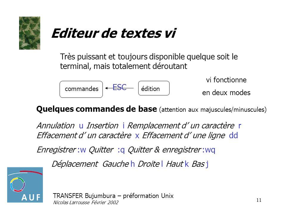 TRANSFER Bujumbura – préformation Unix Nicolas Larrousse Février 2002 11 Editeur de textes vi Quelques commandes de base (attention aux majuscules/min