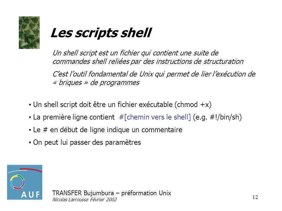 TRANSFER Bujumbura – préformation Unix Nicolas Larrousse Février 2002 12 Les scripts shell Un shell script doit être un fichier exécutable (chmod +x)