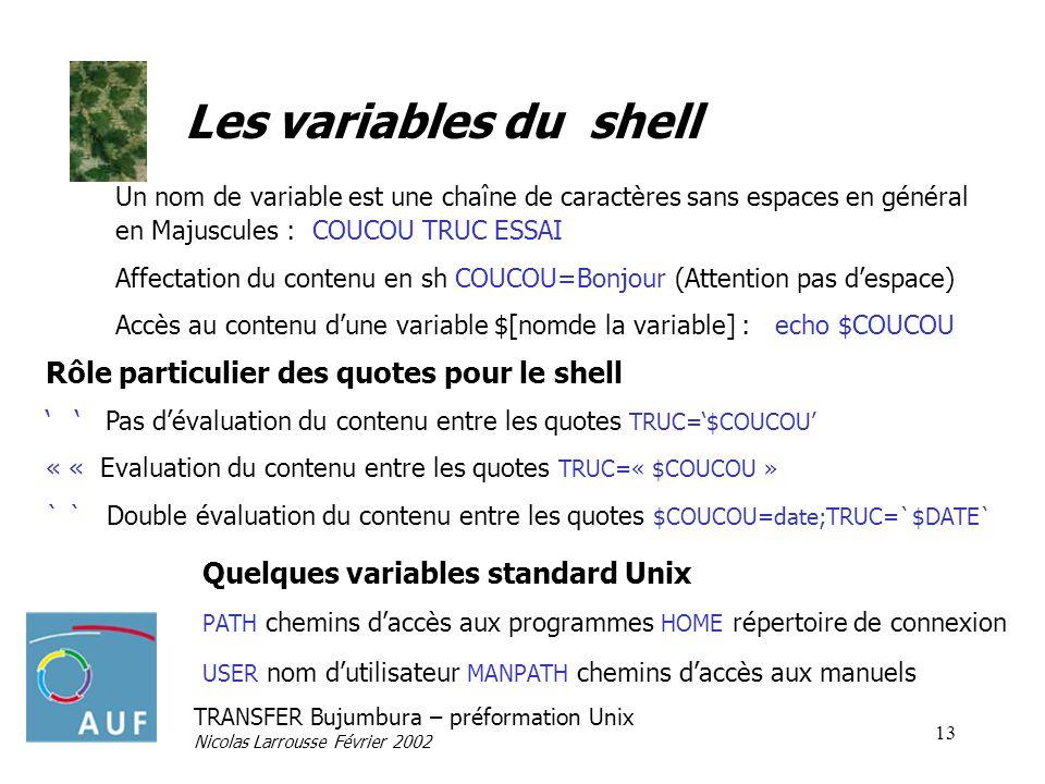 TRANSFER Bujumbura – préformation Unix Nicolas Larrousse Février 2002 13 Les variables du shell Un nom de variable est une chaîne de caractères sans e