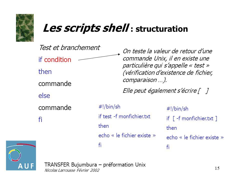 TRANSFER Bujumbura – préformation Unix Nicolas Larrousse Février 2002 15 Les scripts shell : structuration Test et branchement if condition then comma