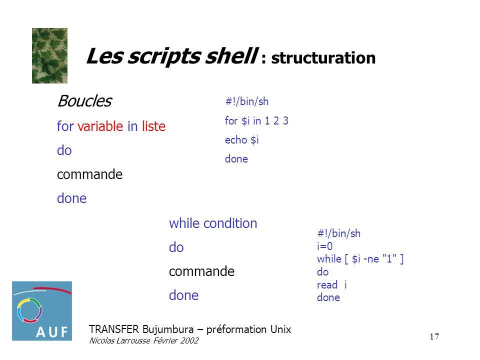 TRANSFER Bujumbura – préformation Unix Nicolas Larrousse Février 2002 17 Les scripts shell : structuration Boucles for variable in liste do commande d