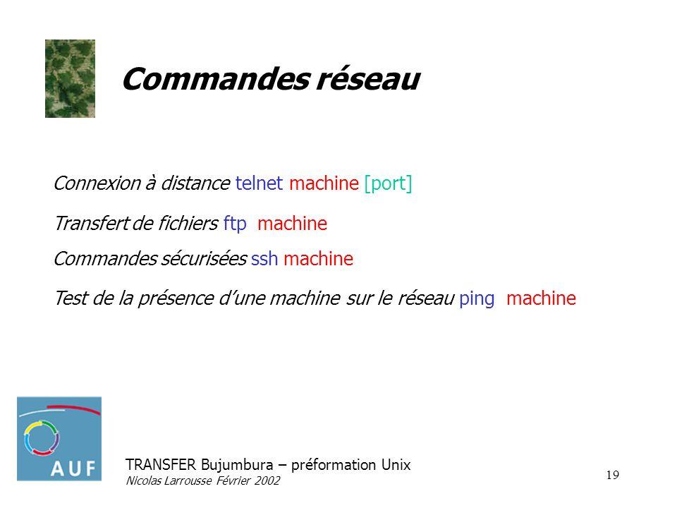 TRANSFER Bujumbura – préformation Unix Nicolas Larrousse Février 2002 19 Commandes réseau Connexion à distance telnet machine [port] Transfert de fich