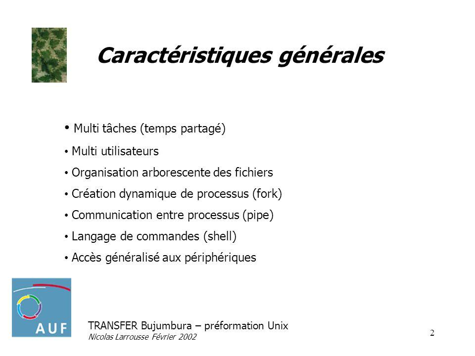 TRANSFER Bujumbura – préformation Unix Nicolas Larrousse Février 2002 2 Caractéristiques générales Multi tâches (temps partagé) Multi utilisateurs Org