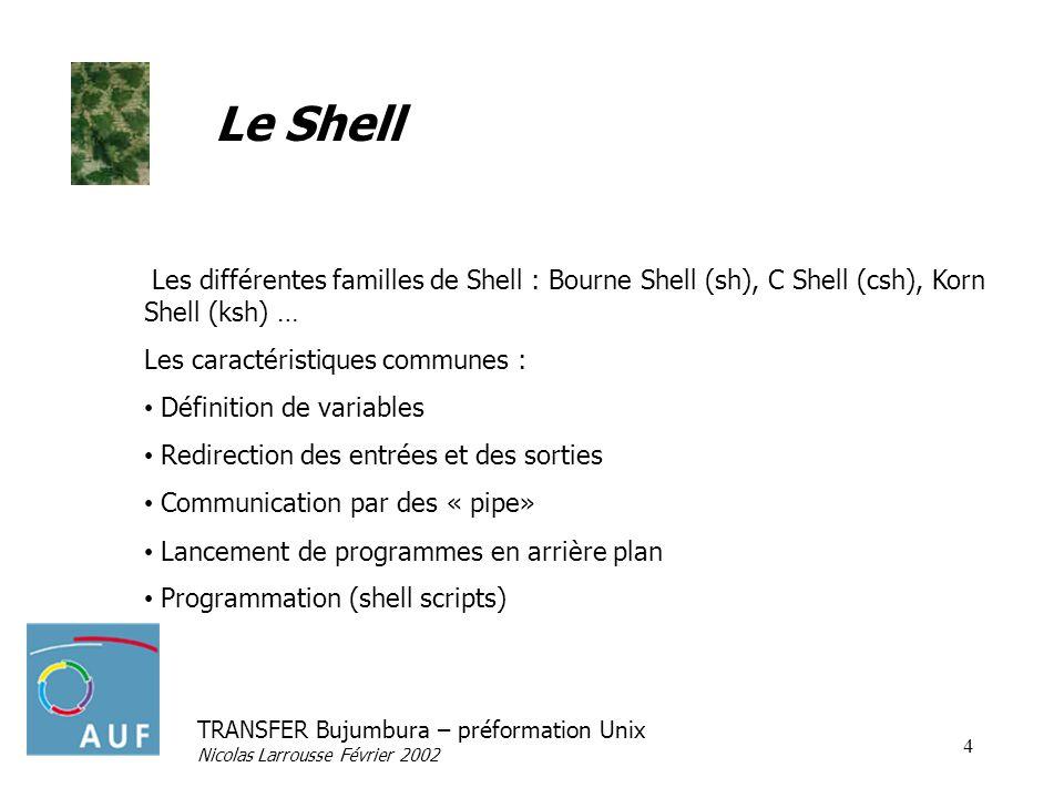 TRANSFER Bujumbura – préformation Unix Nicolas Larrousse Février 2002 15 Les scripts shell : structuration Test et branchement if condition then commande else commande fi #!/bin/sh if test -f monfichier.txt then echo « le fichier existe » fi On teste la valeur de retour dune commande Unix, il en existe une particulière qui sappelle « test » (vérification dexistence de fichier, comparaison …).
