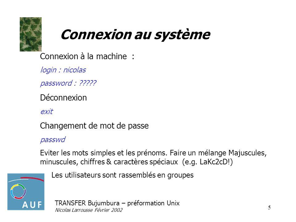 TRANSFER Bujumbura – préformation Unix Nicolas Larrousse Février 2002 6 Syntaxe générale Commande daide man Commande option paramètres ls-l/etc Enchaînement des commandes ; Traitement en arrière plan & Redirections Connexion de deux processus |