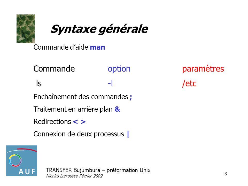 TRANSFER Bujumbura – préformation Unix Nicolas Larrousse Février 2002 6 Syntaxe générale Commande daide man Commande option paramètres ls-l/etc Enchaî