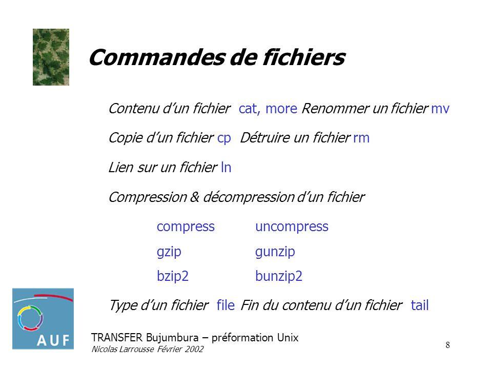 TRANSFER Bujumbura – préformation Unix Nicolas Larrousse Février 2002 8 Commandes de fichiers Contenu dun fichier cat, more Renommer un fichier mv Cop