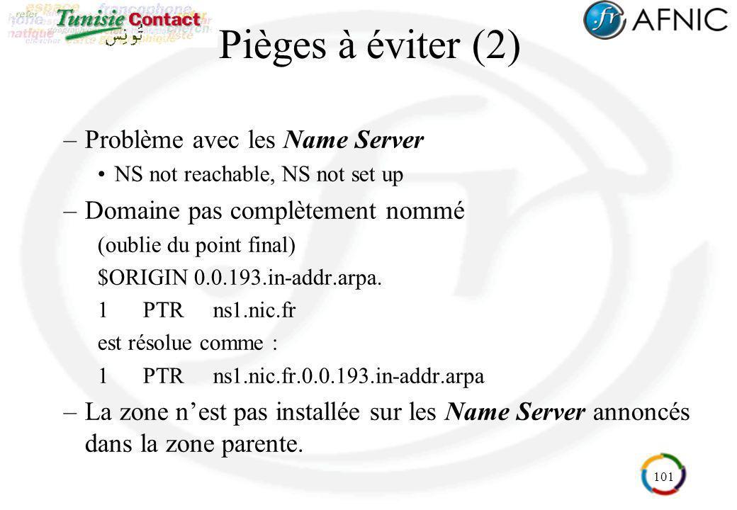 101 Pièges à éviter (2) –Problème avec les Name Server NS not reachable, NS not set up –Domaine pas complètement nommé (oublie du point final) $ORIGIN
