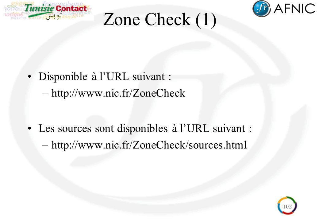 102 Zone Check (1) Disponible à lURL suivant : –http://www.nic.fr/ZoneCheck Les sources sont disponibles à lURL suivant : –http://www.nic.fr/ZoneCheck
