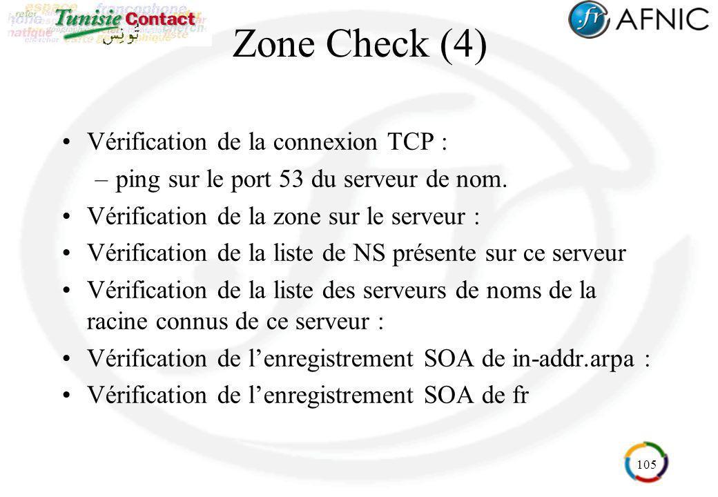 105 Zone Check (4) Vérification de la connexion TCP : –ping sur le port 53 du serveur de nom. Vérification de la zone sur le serveur : Vérification de